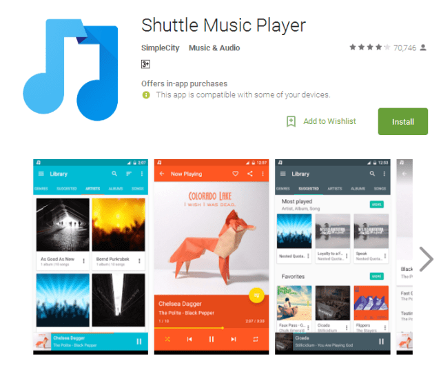 Shuttle Music Player App for Android