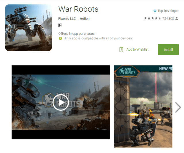 War Robots Android gaming Apps