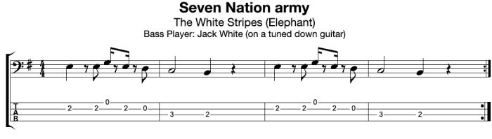 Seven Nation Army Bass Guitar TAB:Notation