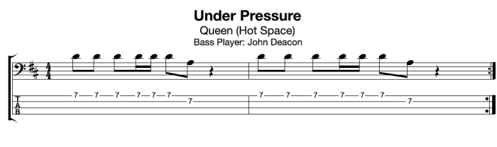 Learn Under Pressure by Queen (free bass guitar TAB:notation)