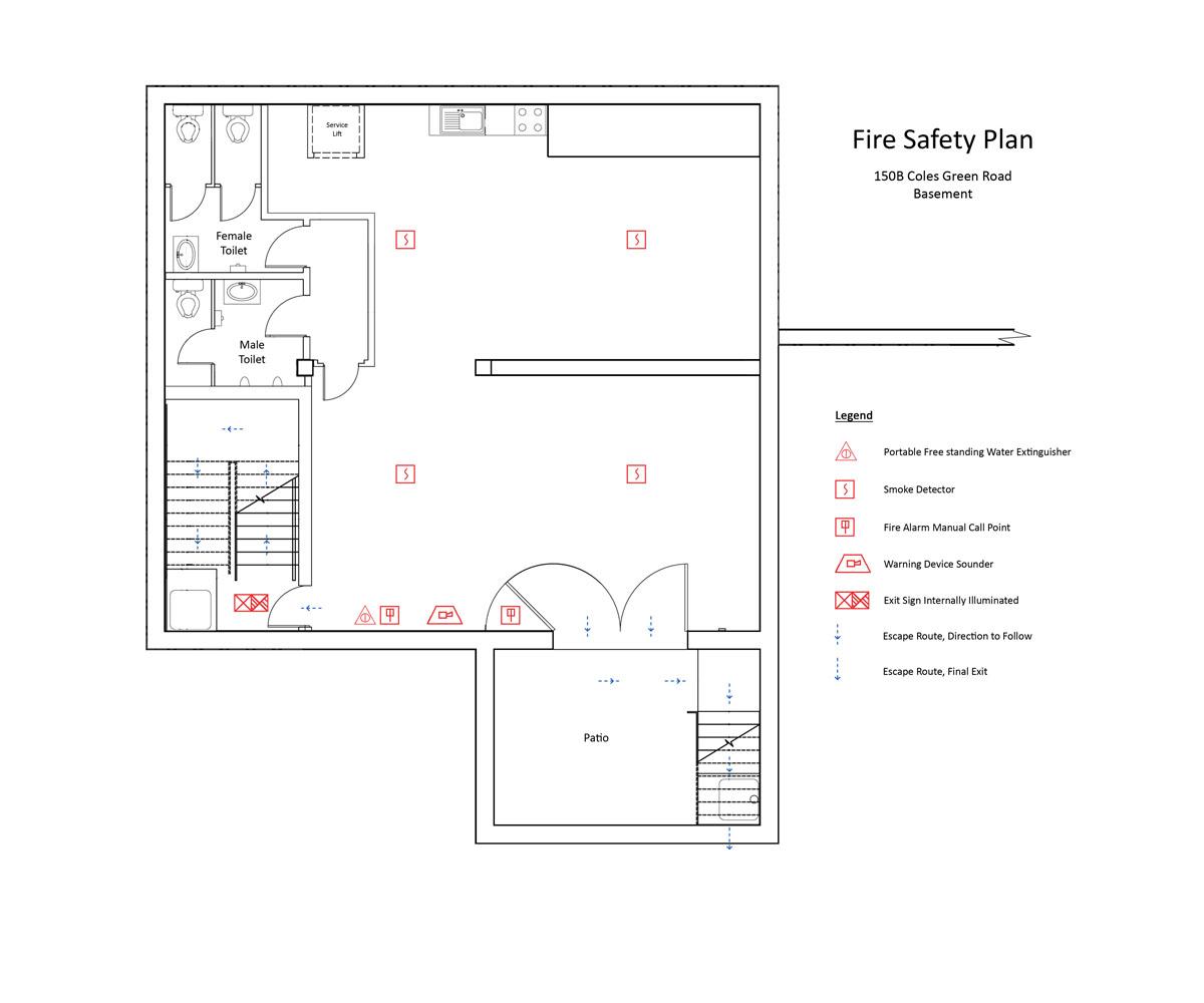 hight resolution of fire safety plan basement