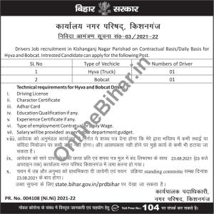 Driver Job Requirement in Kishanganj Nagar Parishad