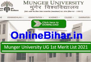 Munger University UG 1st Merit List 2021