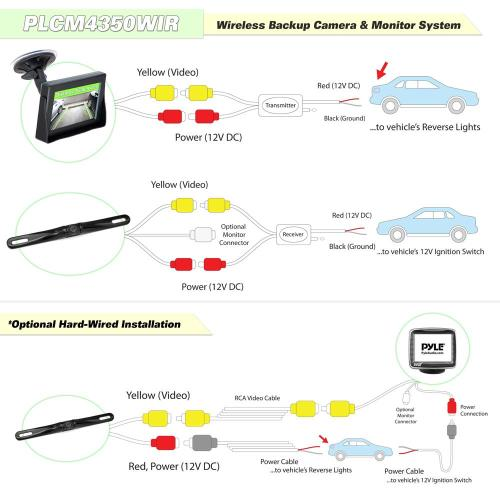 small resolution of pyle plcm4350wir wireless transmission back up rearview parking rh onlinecarstereo com