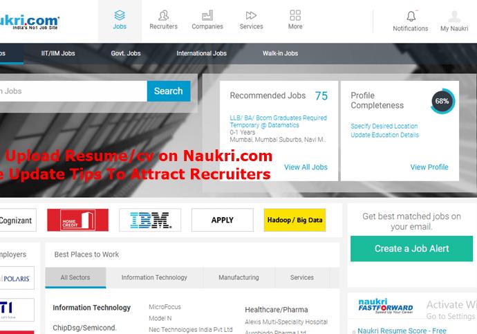 resume upload in naukari com