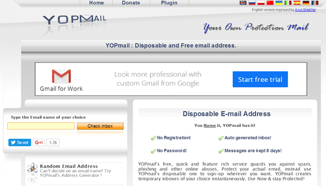 Yopmail account