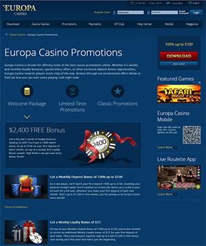 bonus code europa casino