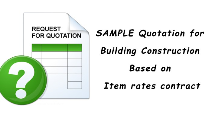 Sample Quotation For Building Construction Based On Item Rates