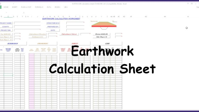 Earthwork Calculation Spreadsheet