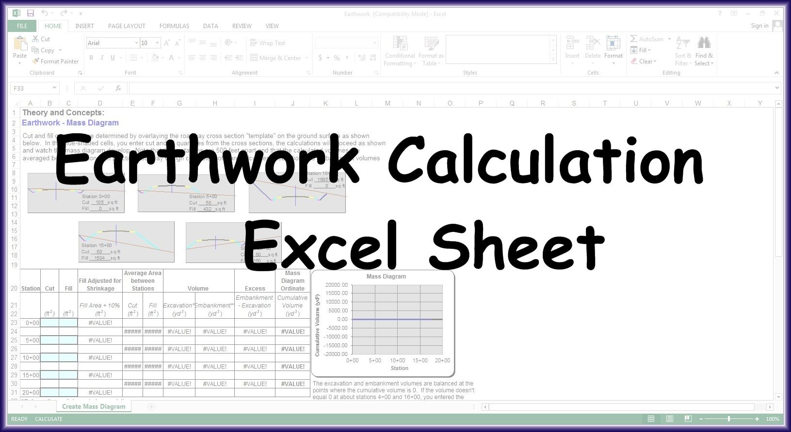 Earthwork Calculation Excel Sheet