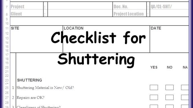 Checklist For Shuttering Excel Sheet