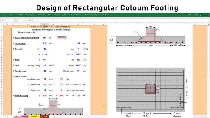 Design of Rectangular Column Footing
