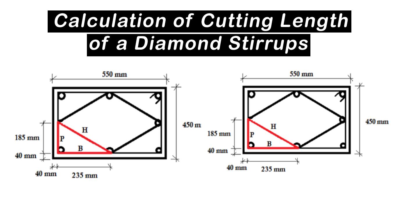 calculation of cutting length of a diamond stirrups