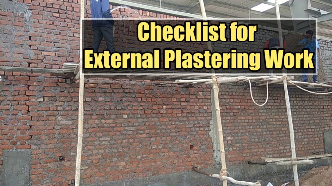 Checklist for External Plastering Work in Building Construction Work