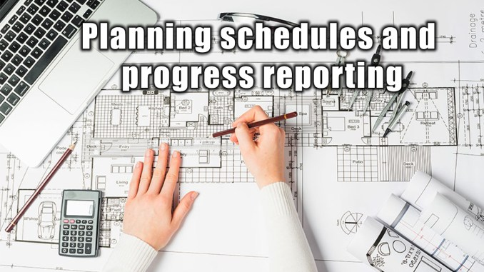 Planning schedules and progress reporting