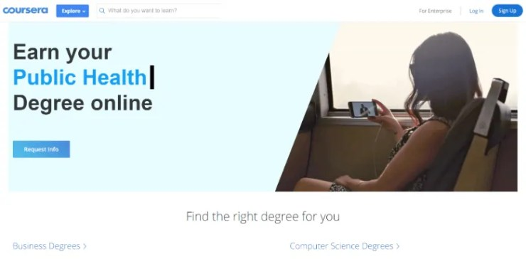 Screenshot of a webpage from Coursera