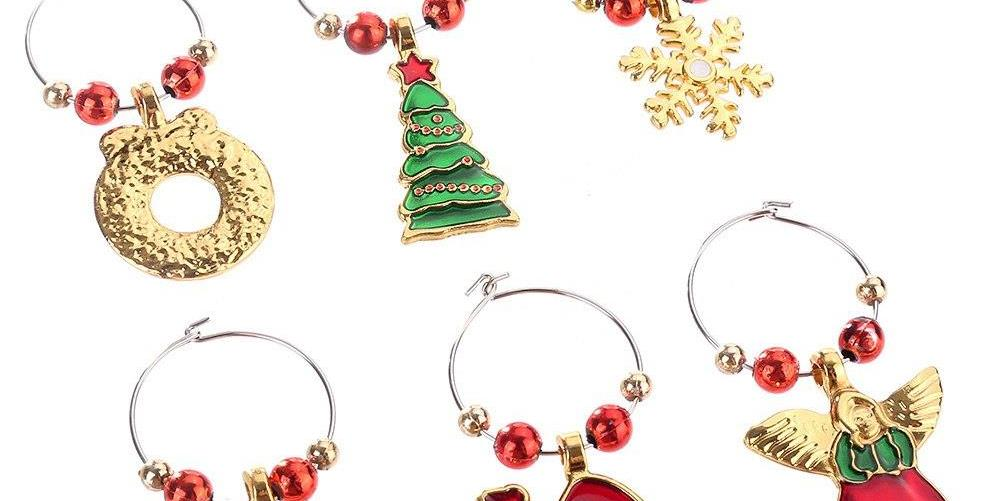 6PCS Fashion Jewelry Christmas Wine Keychain Decoration Bag Pendant Chic Car Key Chain Ring – Type B