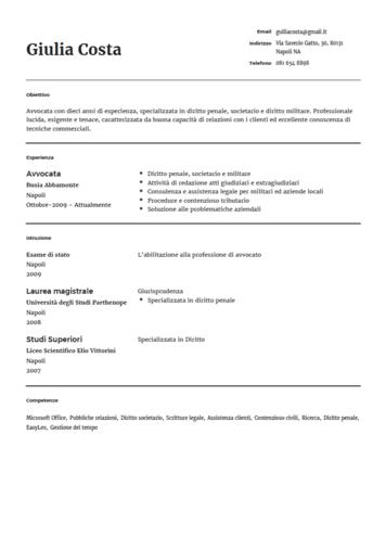 Modello Di Curriculum Vitae Da Avvocato Onlinecv