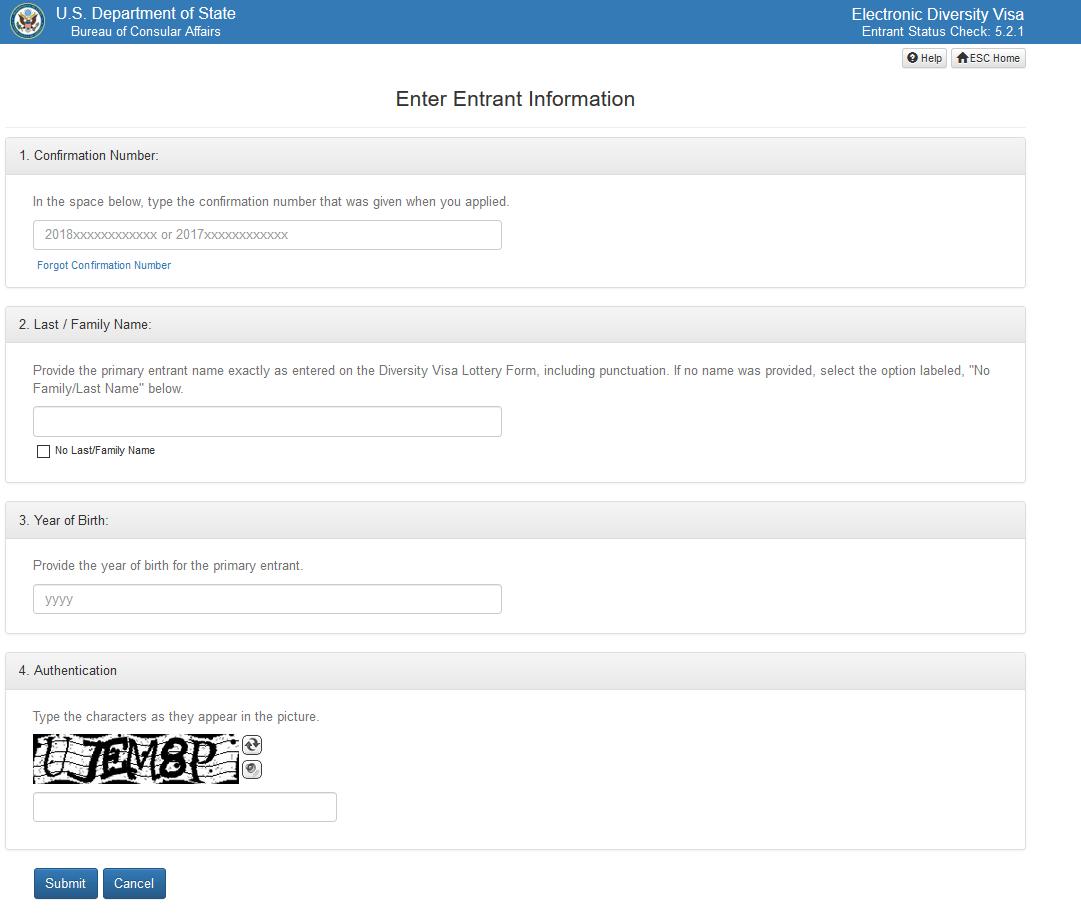 Entrant Status Check >> American Diversity Visa Dv Lottery Entrant Status Checker