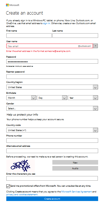 hotmail registration form
