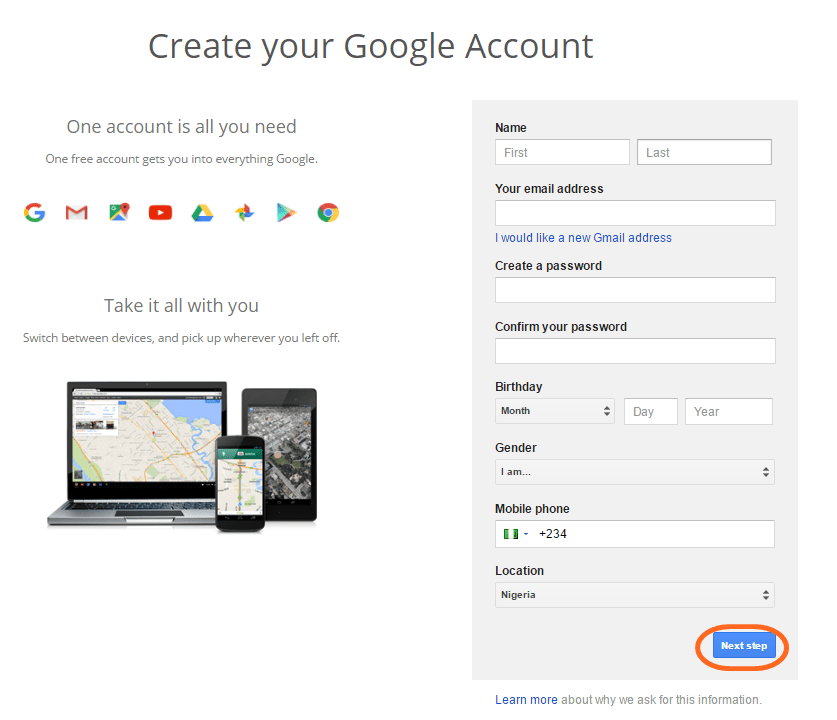 how to create a new account on you tube