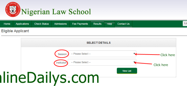 check Nigerian Law School Bar Part II October 2014/2015 List