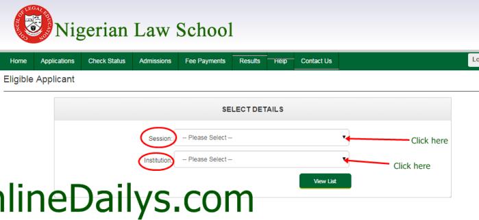 check Nigerian Law School Bar Part II October 2014/2015 List