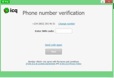 Phone number verification ICQ