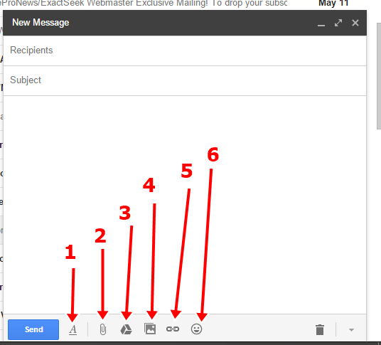 gmail message composing box