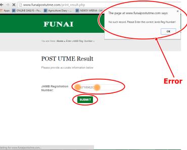 FUNAI 2015/2016 Post UTME Results Checking Error & Solutions