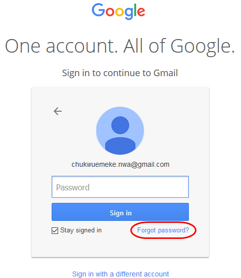 Recover Gmail account password