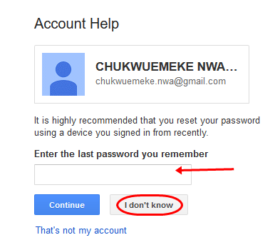 Recover Gmail account password 3