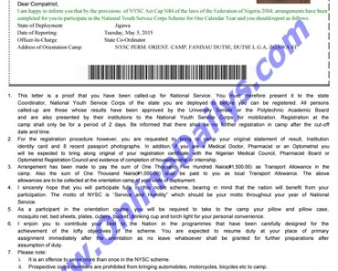 Sample of a NYSC Call Up Letter