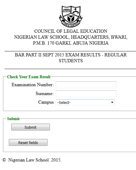 BAR PART II SEPT 2015 EXAM RESULTS - REGULAR STUDENTS