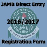 Direct Entry 2016/2017 Registration Form is Out