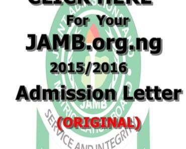JAMB.org.ng 2015/2016 Admission Letter Printing - banner