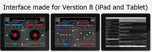 Interface made for Verstion 8 (iPad and Tablet)