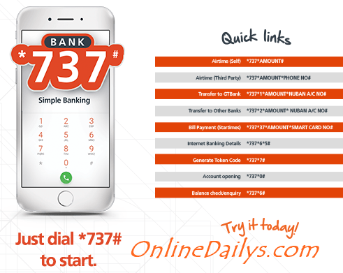 All GTBank Mobile Banking Codes starting with *737#