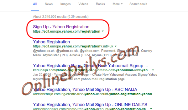 Yahoo Mail Sign Up Form from