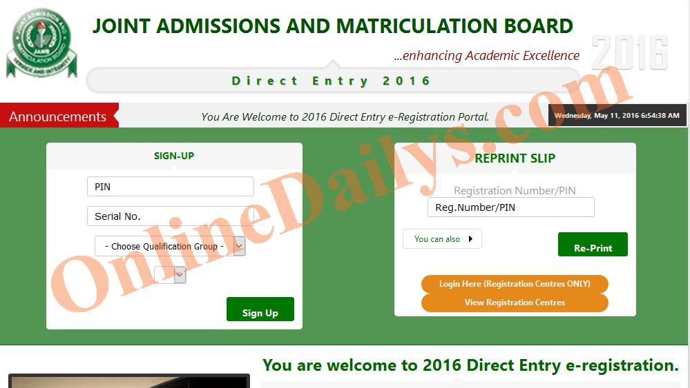 Deadline for 2016 Direct Entry Online Registration