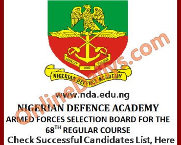 NDA Successful Candidates List 2016/2017