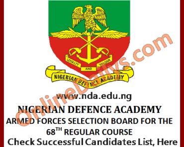 NDA Successful Candidates List 2016/2017