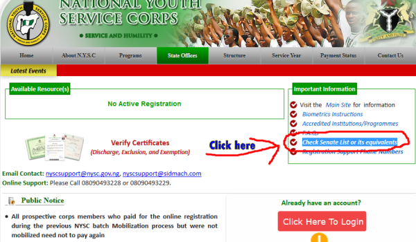 How to Check Online NYSC Senate List