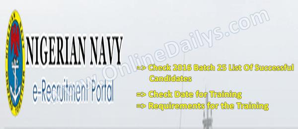 Nigerian Navy 2016 Batch 25 List Of Successful Candidates