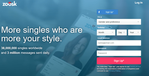 Home page: Zoosk