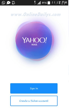 Image: Yahoo Mail Mobile Sign Up