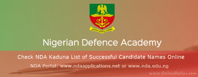Banner: Check NDA Kaduna List of Successful Candidate Names