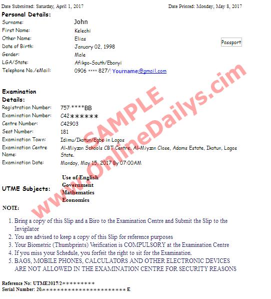 sample: JAMB Re-Print Slip sample