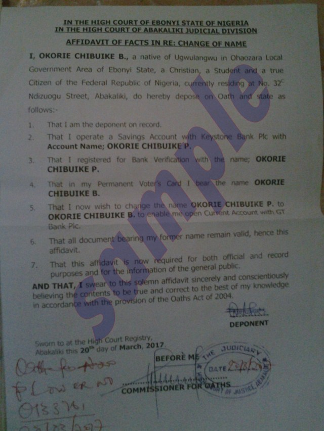 Sample of court affidavit