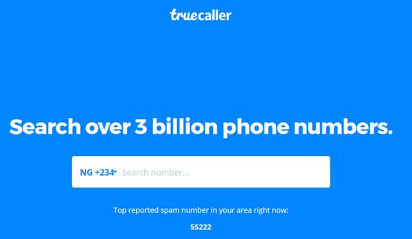 Homepage of TrueCaller App